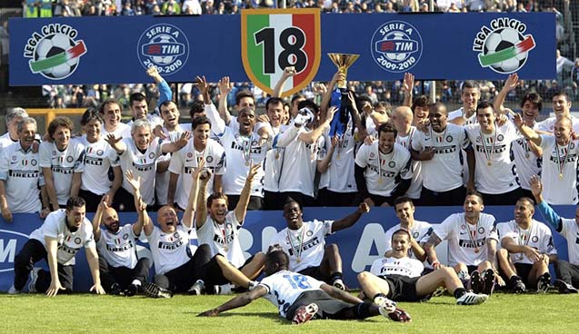 Inter Milan's players celebrate as they claimed their fifth successive Serie A title at the Artemio Franchi stadium in Siena